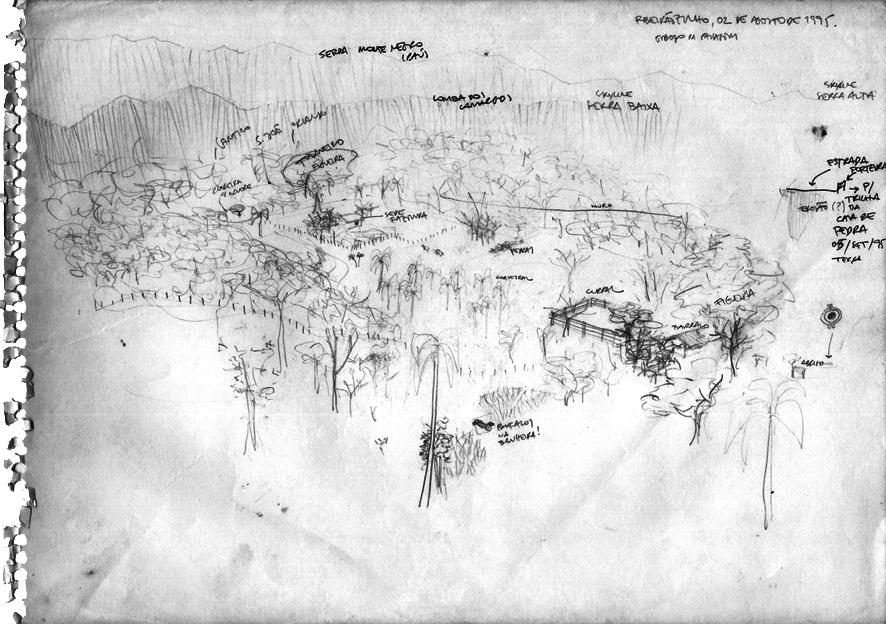 O centro da imagem corresponde a um sítio arqueológico na margem esquerda do rio Iporanga (afluente do Ribeira), onde se encontram estruturas de um antigo garimpo de ouro, há muito abandonado. Hoje, existem ali estruturas de uma fazenda, onde se cria gado, inclusive búfalos. No entorno, casas de pequenos sitiantes. Desenho: Silvio Luiz Cordeiro.