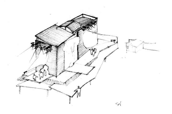 """Proposta cenográfica com abertura ao exterior do Teatro Oficina para encenar parte d'A Luta, em 2001. Projetores de vídeo iluminam com imagens o fundo e a lateral do edifício. Rampas escalonadas configuram uma topografia cênica elevada sobre Canudos (sugerindo o Alto do Mário, o Morro da Favela); a cidadela de Belo Monte então ocuparia o terreno do estacionamento atual; o público, durante a encenação, dirige-se para lá, """"habitando"""" assim Canudos. Varas de luz instaladas acima. Proposta e desenho: © Silvio Luiz Cordeiro."""